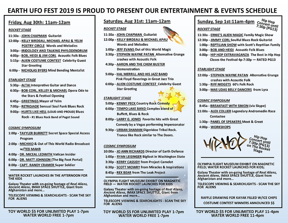 EARTH UFO Fest Program 2019 FINALIZED AT