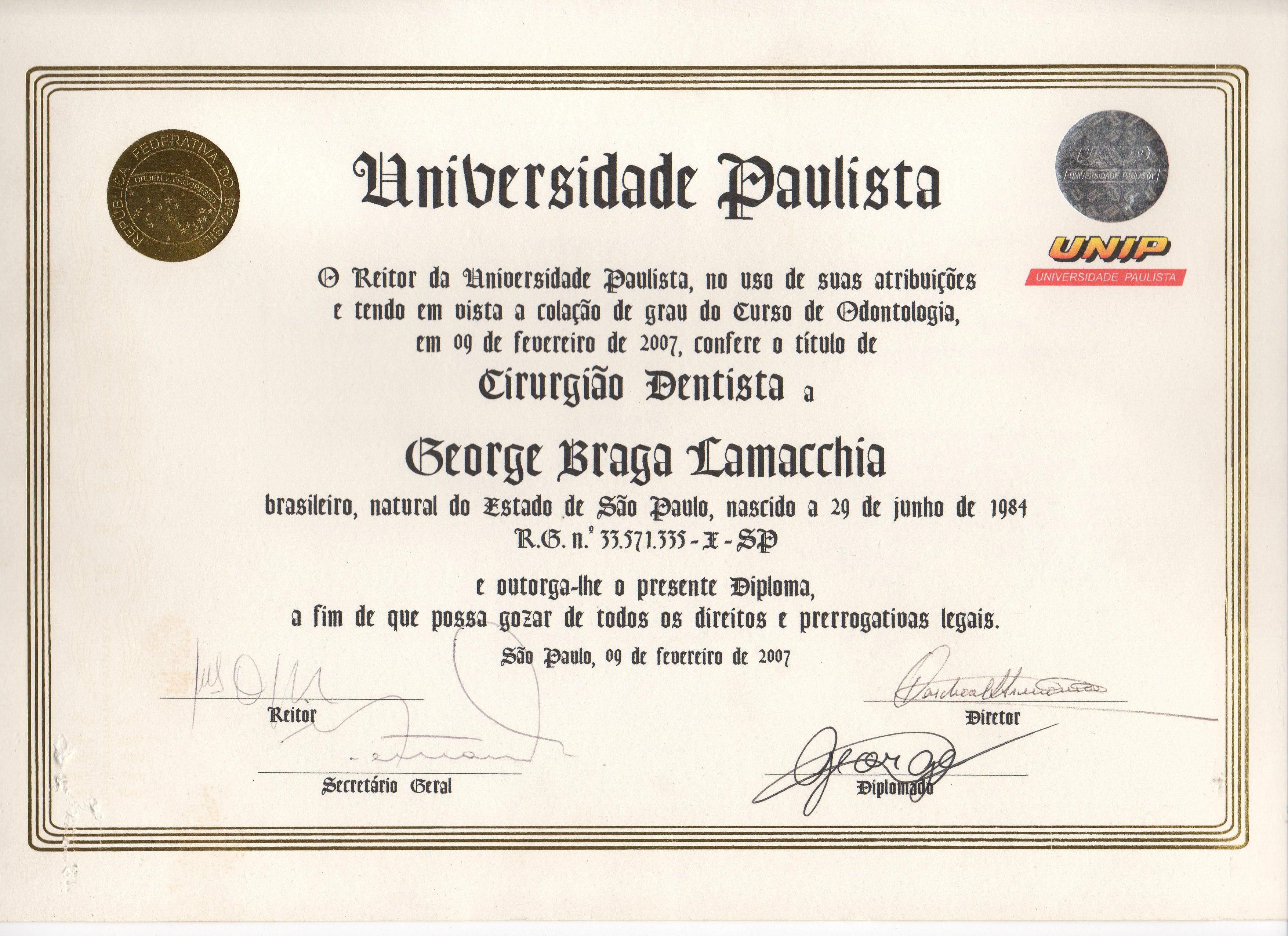 Diploma_Graduação_Odontologia_-_Cirurgião_Dentista_-_Unip