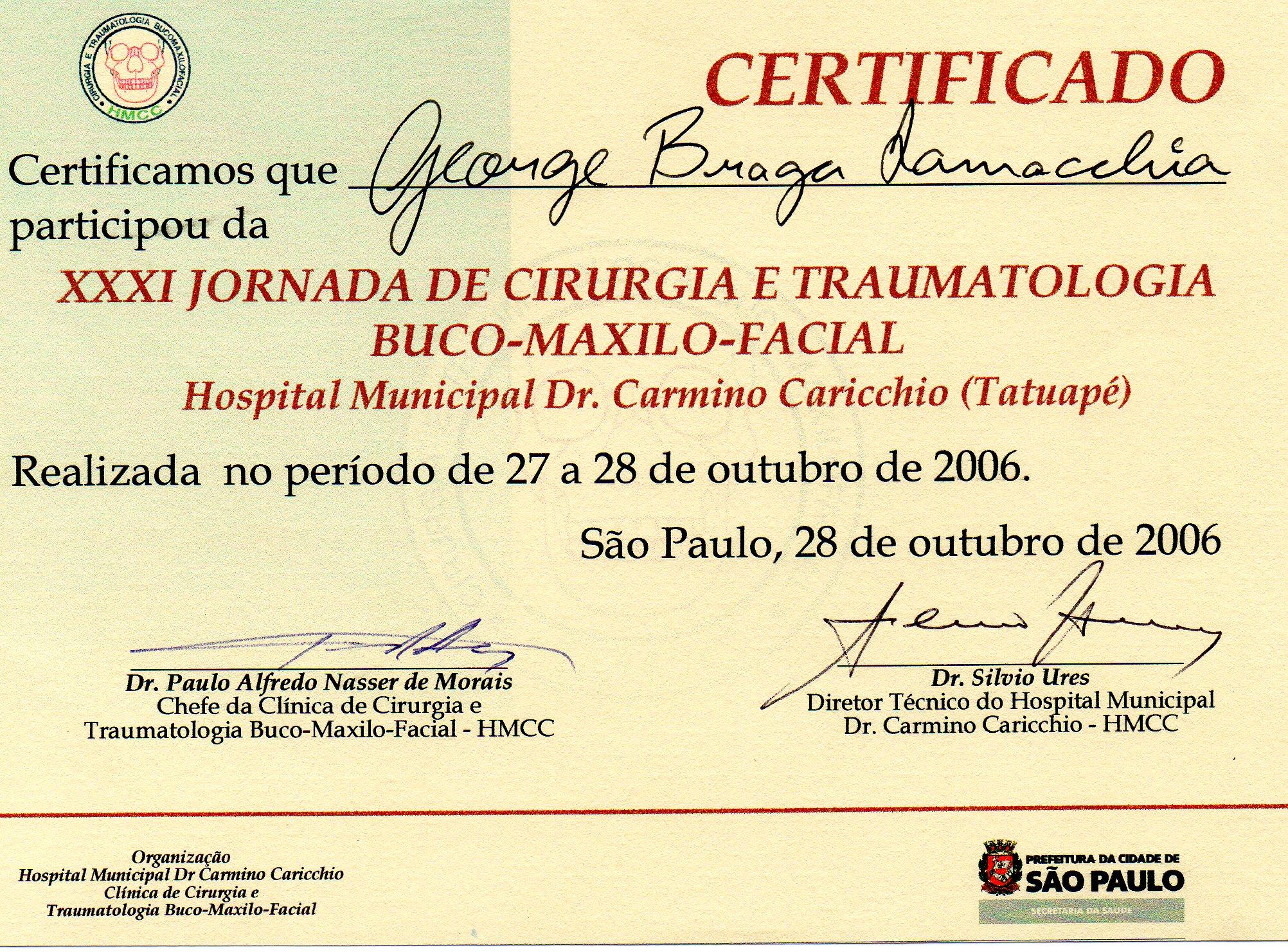 Diploma - Jornada de Cirurgia e Traumatologia BucoMaxiloFacial