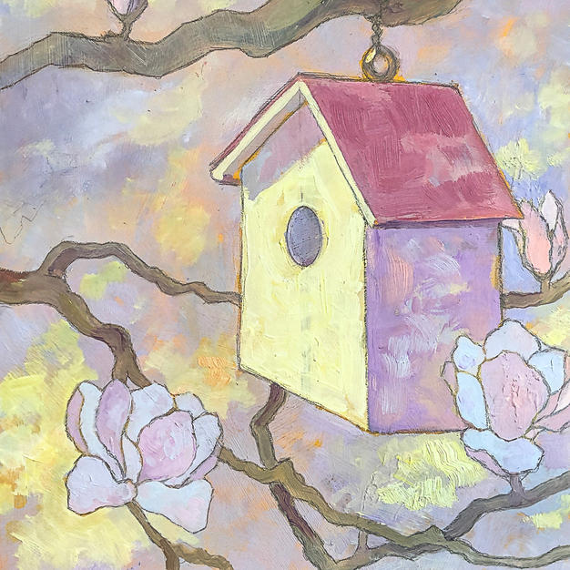 """""""The House"""", Connie Kassal (Oil Painting on Wood)"""