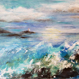 """""""Lighthouse Cove"""", Denise Kirkland (Acrylic Paint)"""