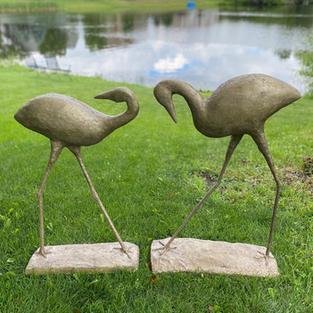 """Water Birds"", Agnes Turman (Sparkling Plaster, Foam Putty, Garden Stakes, Scrap Wood, Spray Paint)"