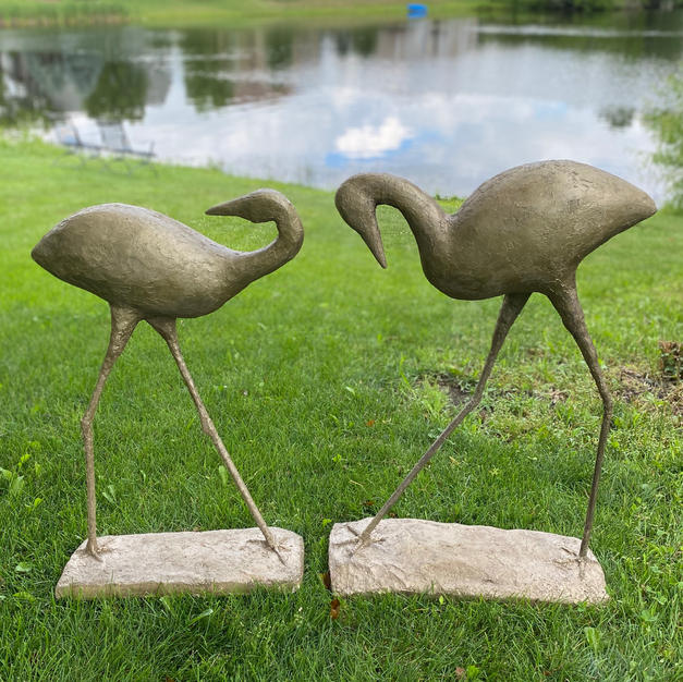 """Water Birds"", Agnes Turman (Sparkling Plaster, Foam Putty, Garden Stakes, Scrap Wood, Spray Paint)"