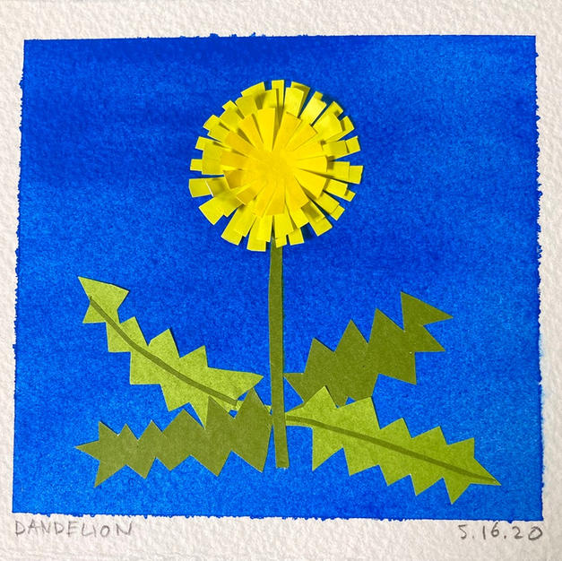 """Dandelion"", Amanda Freymann (Mixed Media Collage: Origami Paper on Watercolor Background on 550# Arches)"