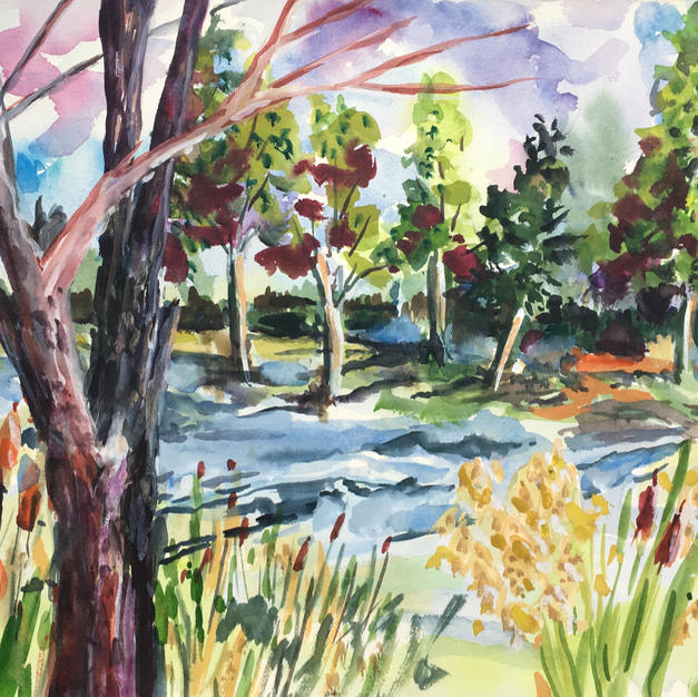 """""""The Great Marsh Trail Relived!"""", Kirsten A. Renehan (Watercolor)"""