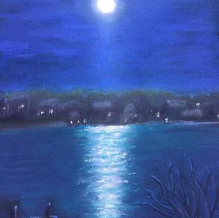 """Carol's Pink Moon"", Mariann Straw (Soft Pastel/Pastel Pencil)"