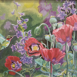 """Bird on Flower"", Carol Jeslis (Paint by Numbers)"