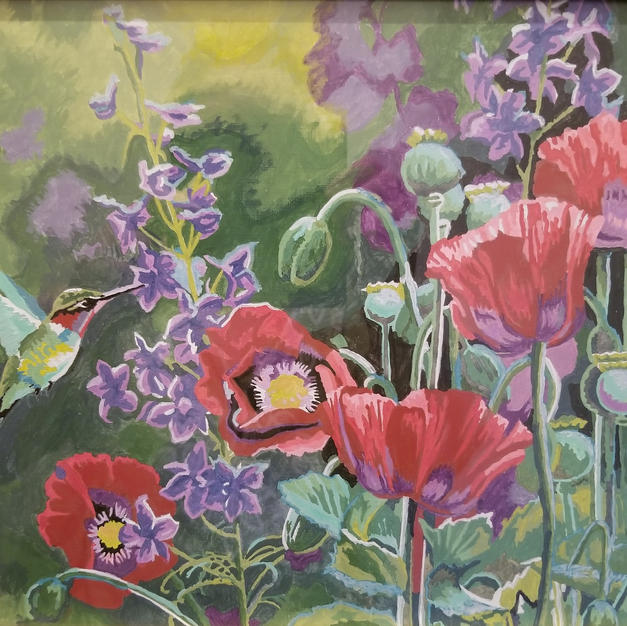 """Bird on Flower"", Carol Jeslis (Paint by Numbers)"