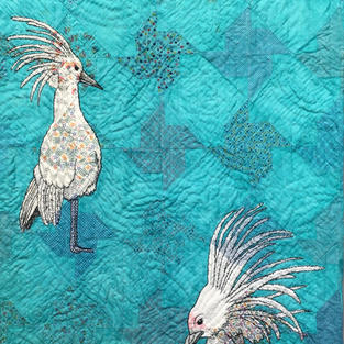 """""""The Kagu"""", Laurel Izard (Hand Stitched and Painted Vintage Quilt Top)"""