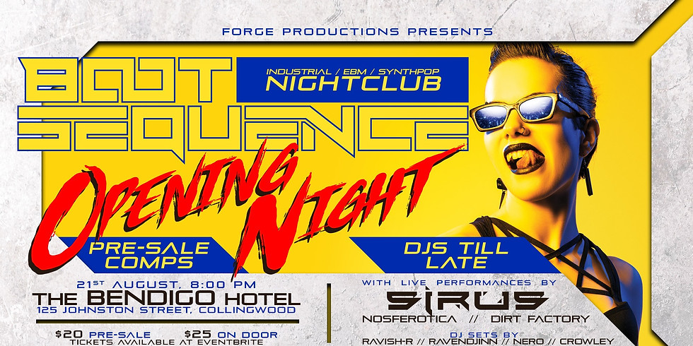 ***POSTPONED DUE TO COVID*** BOOT SEQUENCE NIGHTCLUB w/ SIRUS LIVE!
