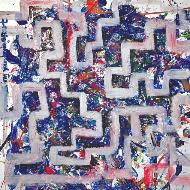 Maze, 117x120cm, Acrylic on mixed media,