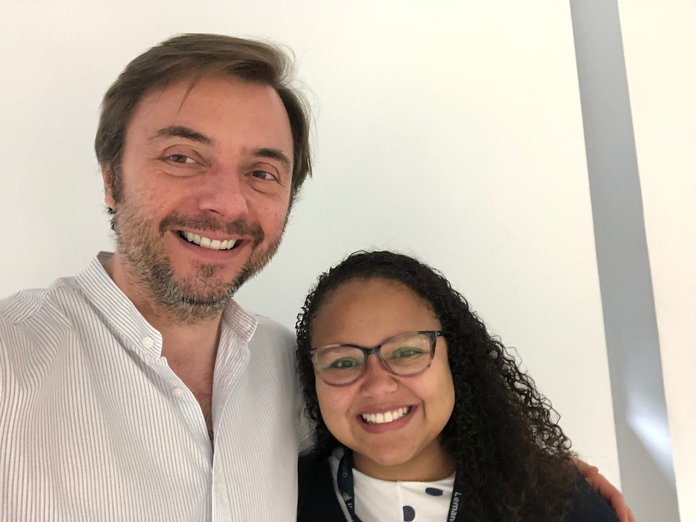 Rayana Vasconcelos with Ákos Gerold at the Lemann Foundation in São Paulo.