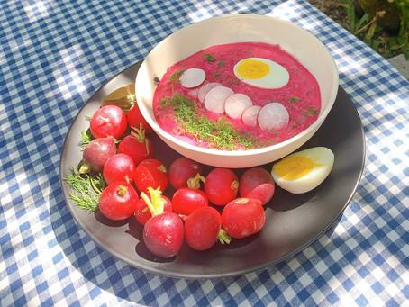 Summer Cold Beetroot Soup with Kefir & Yogurt
