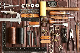 Leather crafting DIY tools flat lay stil