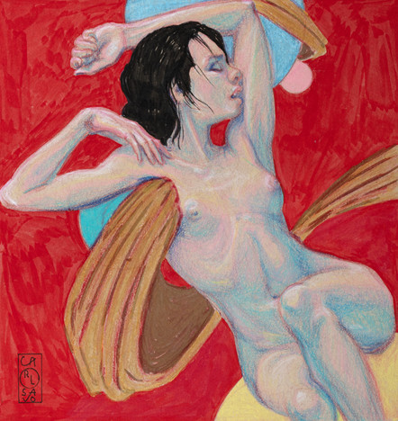NUDE FIGURE ON RED FIELD