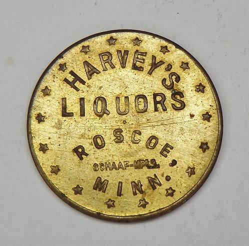 Minnesota, Roscoe - Harvey's Liquors Token
