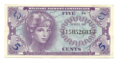 5 Cent Military Pay Certificate
