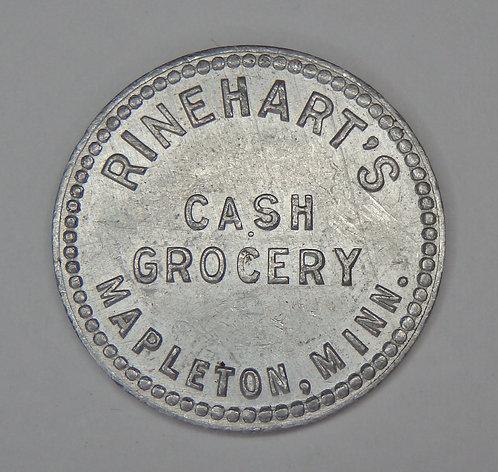 Minnesota, Mapleton - Rinehart's Cash Grocery Token
