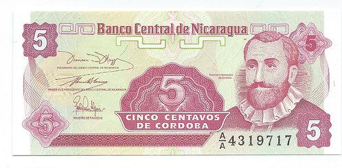 Nicaragua - 5 Centavos - 1991