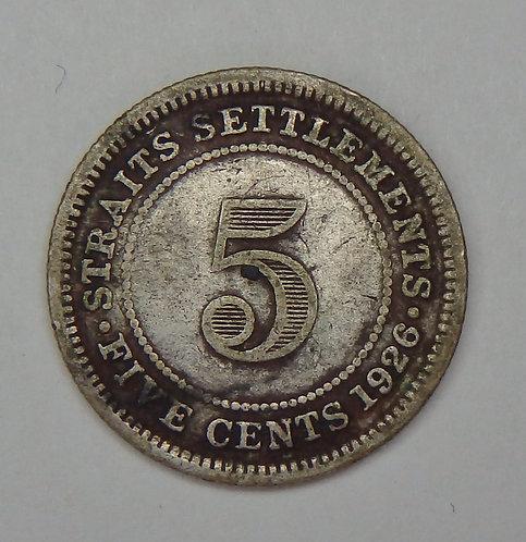 Straits Settlement - 5 Cents - 1926