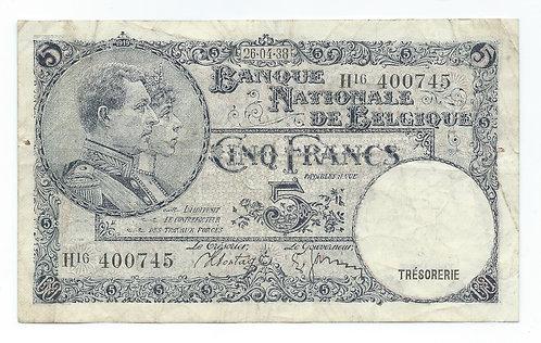 Belgium - 5 Francs - 1938