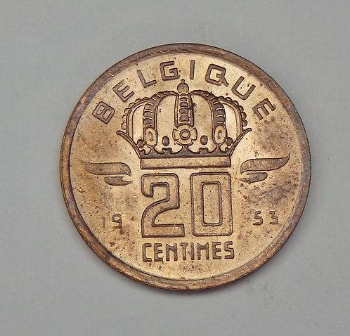 Belgium - 20 Centimes - 1953