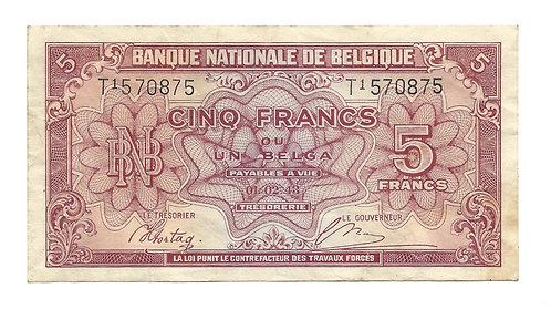 Belgium - 5 Francs - 1943