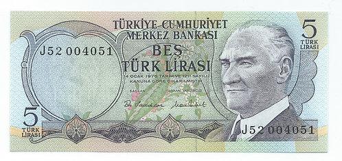 Turkey - 5 Lira - 1976