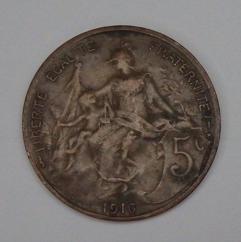 France - 5 Centimes - 1916