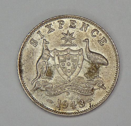 Australia - 6 Pence - 1943-D
