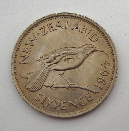 New Zealand - 6 Pence - 1964