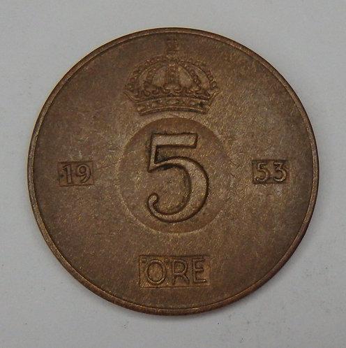 Sweden - 5 Ore - 1953-TS