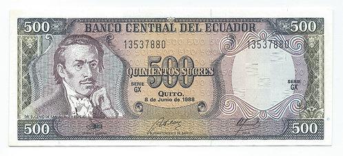 Ecuador - 500 Sucres - 1988