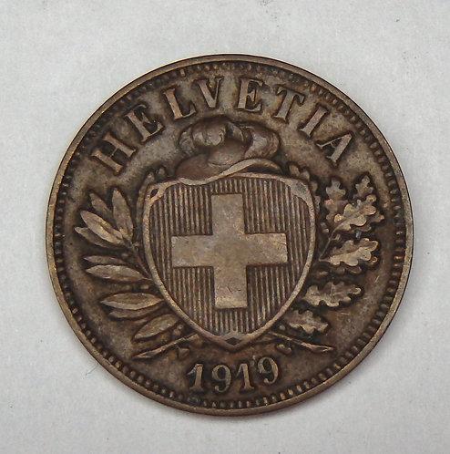 Switzerland - 2 Rappen - 1919-B