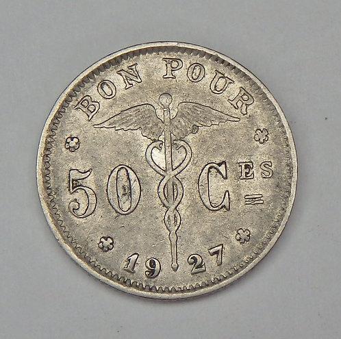 Belgium - 50 Centimes - 1927