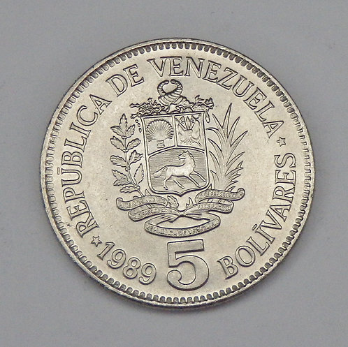 Venezuela - 5 Bolivares - 1989