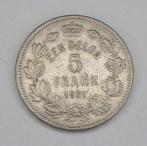 Belgium - 5 Francs - 1931