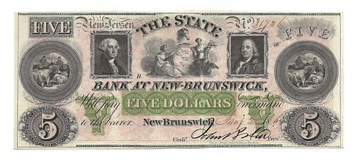 1864 $5 Obsolete Note - The State Bank at New Brunswick NJ