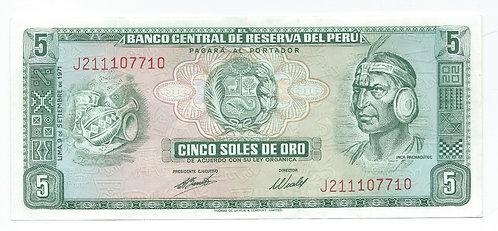 Peru - 5 Soles de Oro - 1971