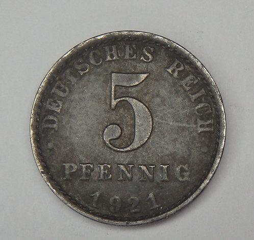Germany - 5 Pfennig - 1921-A