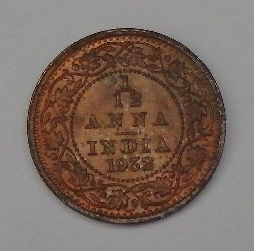 India - 1/12 Anna - 1932