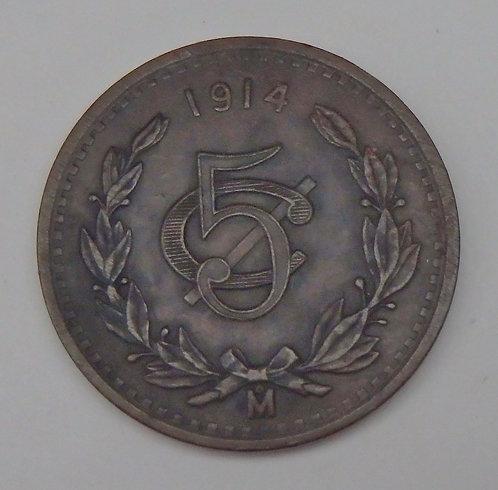 Mexico - 5 Centavos - 1914Mo