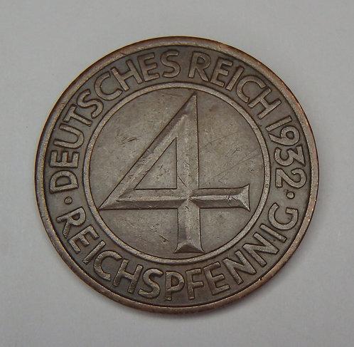 Germany - 4 Reichspfennig - 1932-A