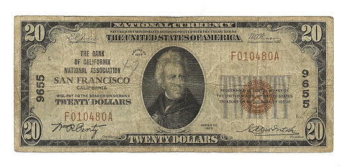 1929 $20 National Bank Note