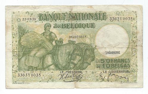 Belgium - 50 Francs - 1938