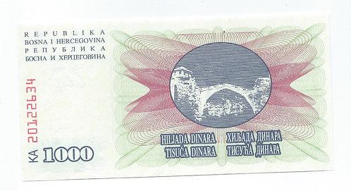 Bosnia-Herzegovina - 1000 Dinara - 1992