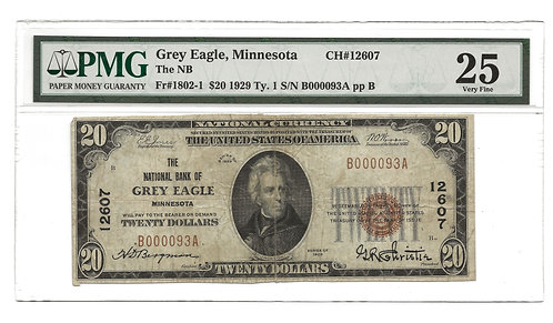 1929 $20 National Bank Note - Grey Eagle MN