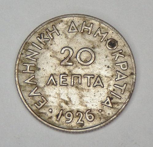 Greece - 20 Lepta - 1926