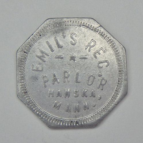 Minnesota, Hanska - Emil's Rec. Parlor Token