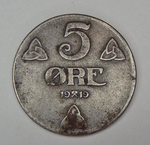 Norway - 5 Ore - 1919